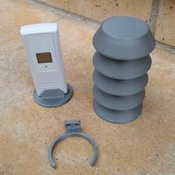 Descargar STL gratis Escudo de protección del sensor meteorológico con soporte, medmakes