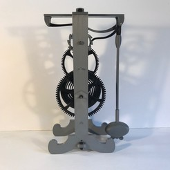front.jpg Download free STL file Galileo escapement clock spring driven all 3D printed • 3D printing design, JacquesFavre