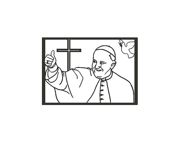 papatoCult.png Descargar archivo STL Papa Francisco para pared. • Plan para la impresión en 3D, miguelonmex