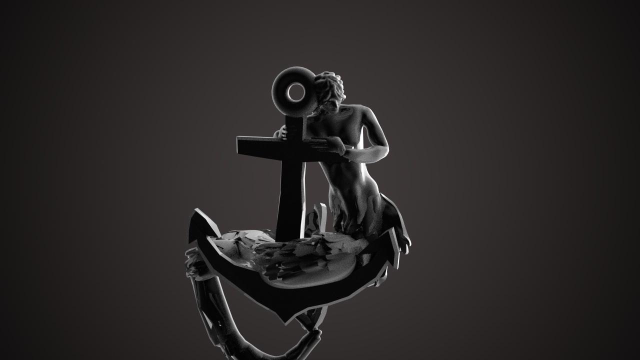 mermaid on a hook 2 NECKLACE PENDENT.jpg Télécharger fichier STL Sirène sur une ancre Pendentif pour un collier • Design à imprimer en 3D, swivaller