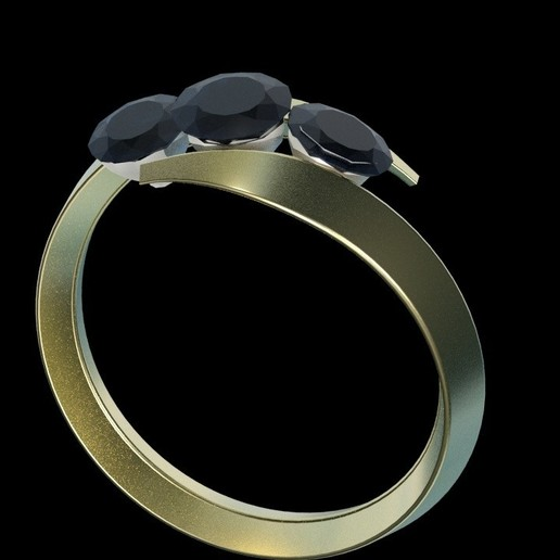 ring2.jpg Download free STL file 3 diamond ring • Object to 3D print, swivaller