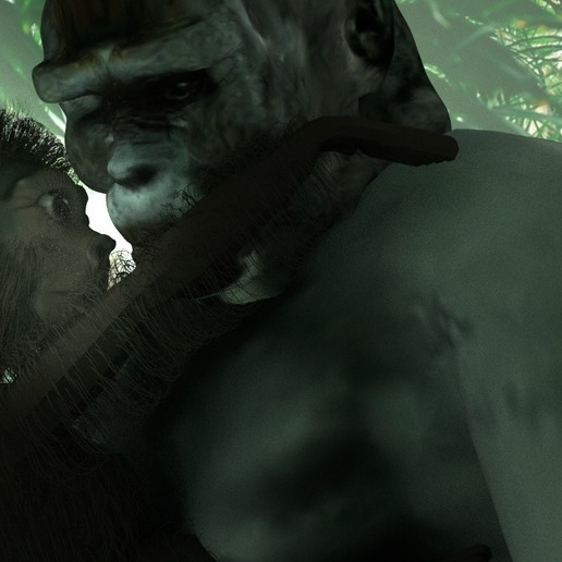baby gorilla and momma.jpg Download OBJ file Gorilla lamp • 3D printing template, swivaller