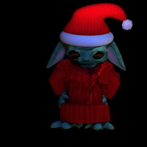 rigged yoda pose2.jpg Download STL file Baby Santa Yoda 2  • 3D print model, swivaller