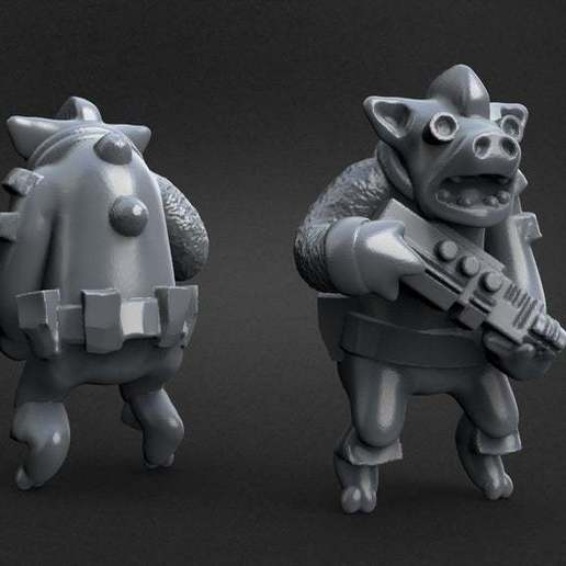 32a62057409c2a76c0024bec64898190_display_large.jpg Download free STL file Miniature - War Pig Grunt (18mm Scale) (2016) • Object to 3D print, whackolantern