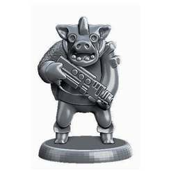Download free 3D printing designs Miniature - War Pig Grunt (18mm Scale) (2016), whackolantern