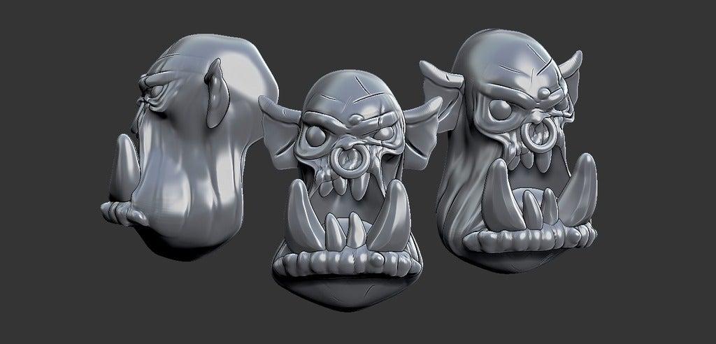 9b7d7dd732c92b73f6af4e549387d138_display_large.jpg Download free STL file Miniature - Ork Heads (Heroic Scale) (2016) • 3D printing object, whackolantern