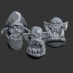 Download free STL Miniature - Ork Heads (Heroic Scale) (2016), whackolantern