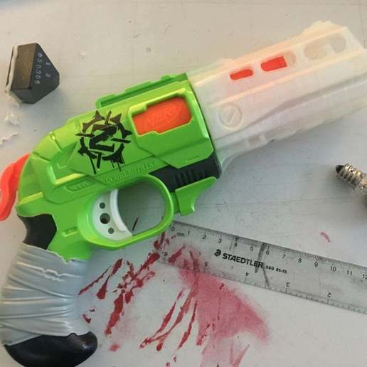 Download free STL file Nerf Doublestrike Trigger mod • 3D printer object, LeftBrainCo
