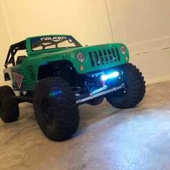 Impresiones 3D gratis SCX10 Barra transversal frontal con puntos de recuperación y barra de luz LED, goodsons_hobbies
