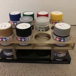 Download free 3D printing designs Tamiya Colour Stacking paint tray, Kahnindustries