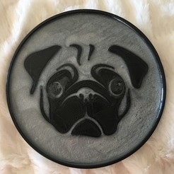 IMG_9007.JPG Download STL file Pug Coaster • 3D printable template, caniread