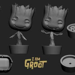 Download free 3D printing files Baby Groot x 3 Funko Style, archivosstl3d