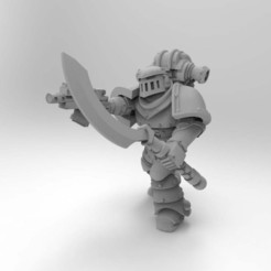 Download free STL file Mk2 Marine Squad Leader with Occult Power Sword and Occult Glaive Staff • 3D printable design, Mazer