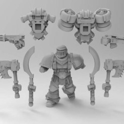 be445e68a46da1034af05230176544ef_display_large.jpg Download free STL file Assault Marine Builder Berserker, Tzaangors, Blade Cabal • 3D printable template, Mazer