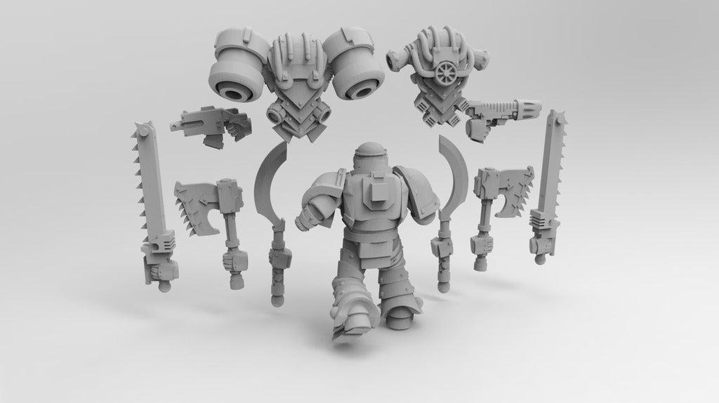 b366c456a2f091aaa774f2832721dfc7_display_large.jpg Download free STL file Assault Marine Builder Berserker, Tzaangors, Blade Cabal • 3D printable template, Mazer