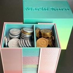 Descargar diseños 3D gratis Organizador compacto/caja de viaje para Machi Koro Edición 5º Aniversario, fuchsr