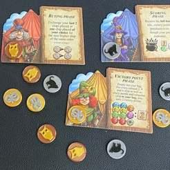 20201006_160322578_iOS_Large.jpg Télécharger fichier STL gratuit Des pièces de monnaie de sorcière pour les charlatans de Quedlinburg - Expansion des sorcières aux herbes • Design imprimable en 3D, fuchsr