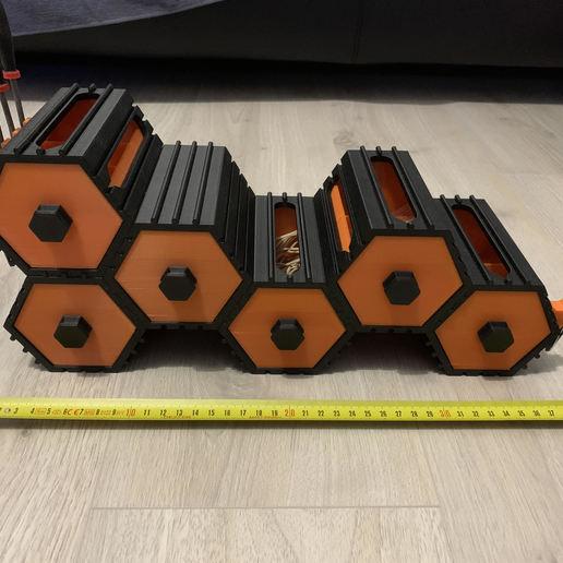 Download free 3D model La Ruche stackable hexagonal storage drawers, Khastagne
