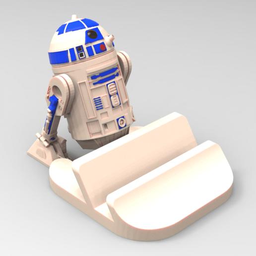 suporte r2d2.126.png Download STL file Smartphone Support R2D2 • 3D printer object, BrunoLopes