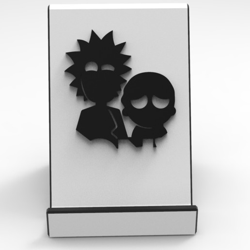 1.jpg Download STL file Rick and Morty Support Phone • 3D printable object, BrunoLopes