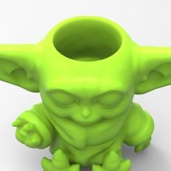 untitled.360.jpg Download STL file Baby Yoda Vase • 3D printing model, BrunoLopes