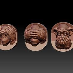 three wise monkeys.jpg Télécharger fichier OBJ Le modèle d'impression 3D des Trois Singes Sages • Modèle pour imprimante 3D, Joneto