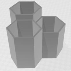 Download 3D printing designs 3 Hexagon Vases / Planters, PrinDings