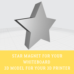 STAR MAGNET.png Download free STL file Star whiteboard magnet • 3D print object, doll_laugh_love