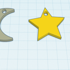 print1.png Download STL file Earring - Moon&Star • 3D printable object, DarthLeiah