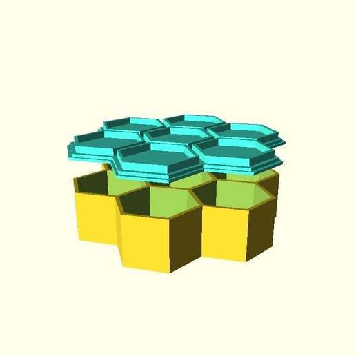 f74c05f67565b7c21feb33860617fe4c_display_large.jpg Download free SCAD file 7 Hex Container for Small Parts and Games • 3D printing object, dantu
