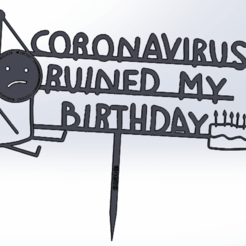 Download 3D printing models CAKE TOPPER CORONAVIRUS RUINED MY BIRTHDAY (MEN), IDEAS3D