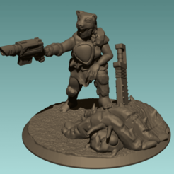 leapord lady three quarter.png Download free STL file Deathworld Space Sergeant • Object to 3D print, davidmckenzieart