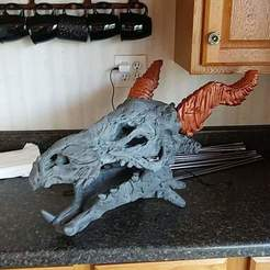 Download free STL files makerbot dragon skull for supersized print, chadfree