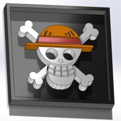 Cuadro Mugiwara.png Download STL file Emblems of Mugiwara and Heart Pirates • 3D printer design, dakar_17