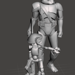 "comander_neyo.PNG Download free STL file Commander Neyo and the pit droid - Remix - fixed, resized to 6"" and hollowed • Design to 3D print, Tse"
