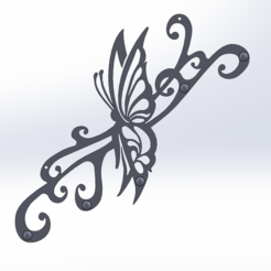 Télécharger modèle 3D gratuit support clés mural papillon, Damienvon