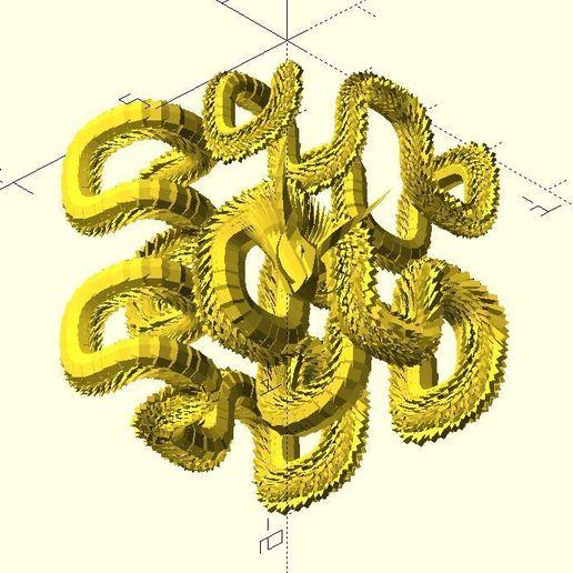 Download free 3D printer designs Hilbert dragon, JustinSDK