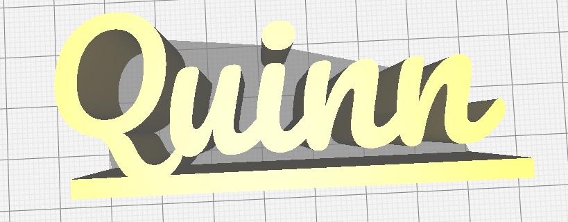 Quinn naam.PNG Download free STL file Quinn name with platform • Design to 3D print, jamiednj