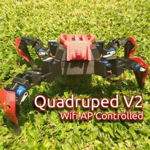 Download free STL file WIFI Quadruped V2 Crawling Robot, mwilmars