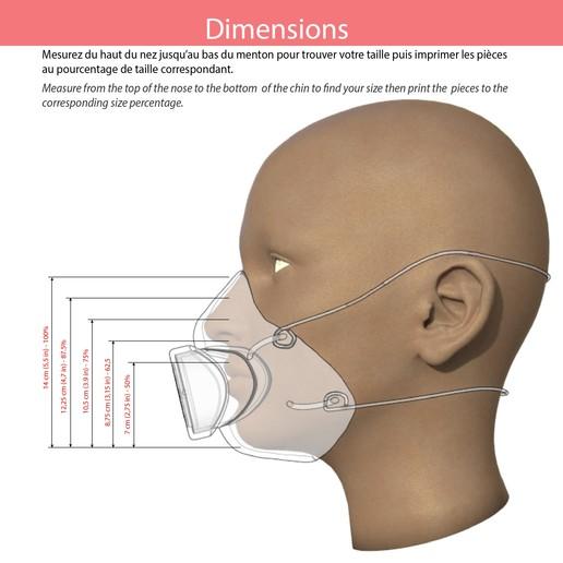 dimensions.jpg Télécharger fichier STL gratuit Masque filtrant (Covid 19) • Modèle pour impression 3D, Designandmore3D