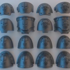 Download free 3D printer templates (Chaos) Space Marine Shoulder Pads - Iron Warriors, alphaflight83