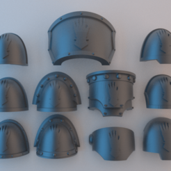 Download free 3D printer templates Space Marine Shoulder Pads - Iron Hands v2, alphaflight83