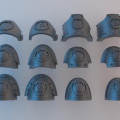Télécharger fichier impression 3D gratuit (Chaos) Epaulières Space Marine - Mangeurs du monde, alphaflight83