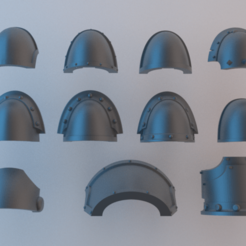 Download free 3D printing models Blank (Chaos) Space Marine Shoulder Pad Collection, alphaflight83