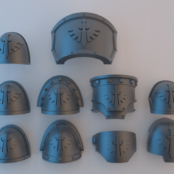 Shoulder_Pads_Dark_Angels.png Télécharger fichier STL gratuit Épaulettes Space Marine - Dark Angels • Design pour impression 3D, alphaflight83