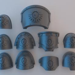 Download free 3D printer designs Space Marine Shoulder Pads - Consecrators, alphaflight83