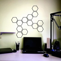 Download free 3D printing files Wall decoration,  hexagon, DenStasis