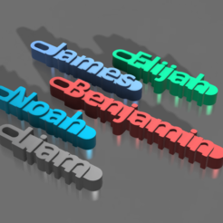 Снимок.PNG Download STL file Elijah, James, Benjamin, Noah, Liam - NAME KEYRING • 3D printing object, DenStasis