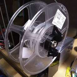 Download free 3D printer templates filament spool axle with spring-loaded clips, suromark