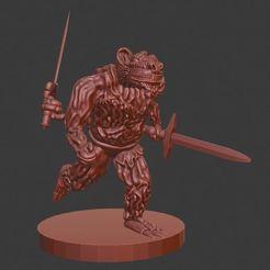 Imprimir en 3D gratis Wererat para juegos de rol de sobremesa de 28 mm, AJade
